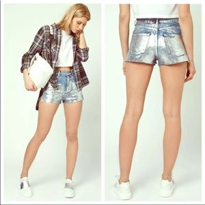 TopShop Moto Metallic Paint Mom Shorts